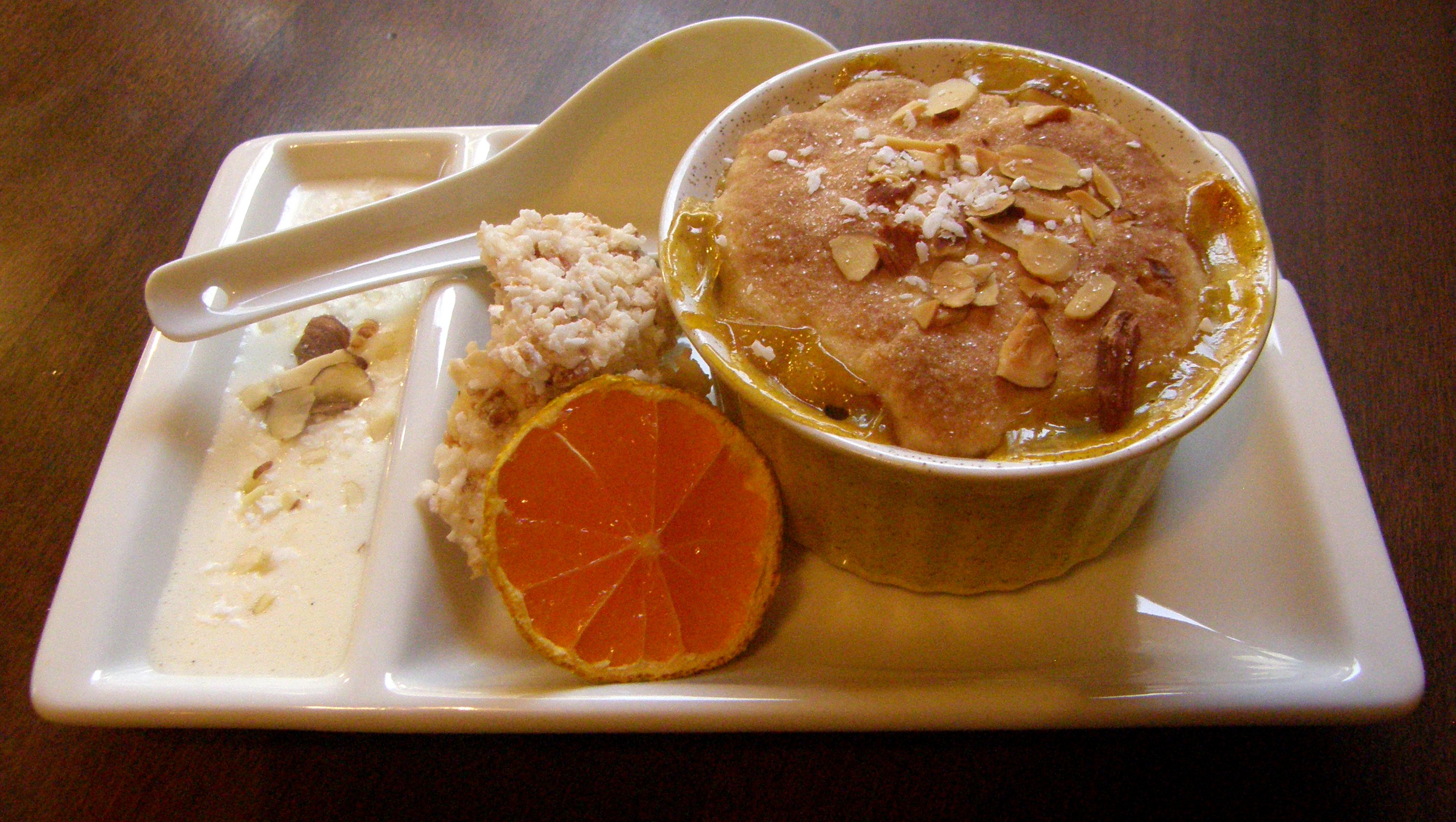 ... Wild Rice Cobbler with Coconut Almond Burfi and Orange Crème Anglaise